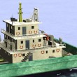 3d render of cartoon characters on floating crane — Stock Photo #10698697