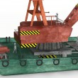 3d render of cartoon characters on floating crane — Lizenzfreies Foto
