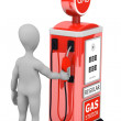 3d render of cartoon character with gas pump — Foto de Stock