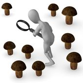 3d render of cartoon character searching mushroom — Stock Photo