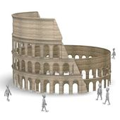 3d render of cartoon character with coloseum arena — Stock Photo