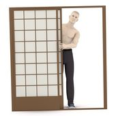 3d render of artificial character behind door — Stock Photo