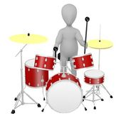 3d render of cartoon character with drumset — Stock Photo