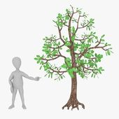 3d render of cartoon character with tree — Stock Photo