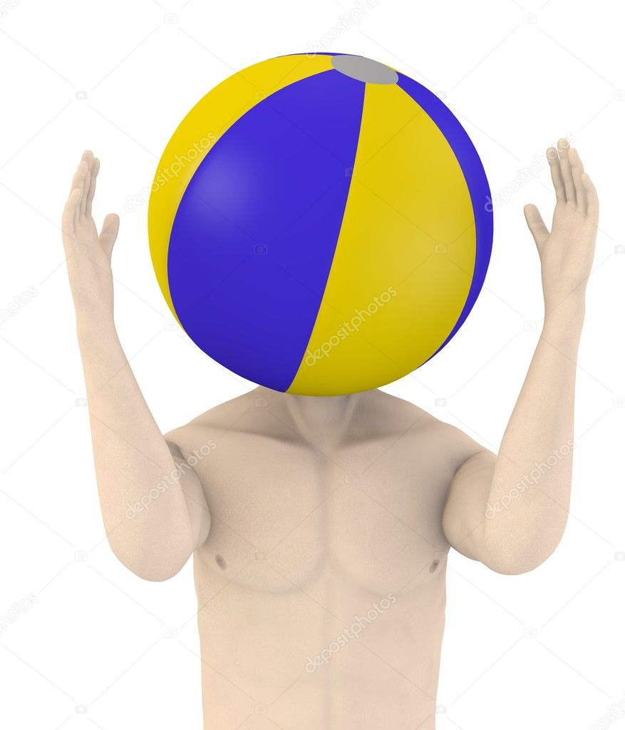 3d render of artifical male with beach ball  Stock Photo #10696531