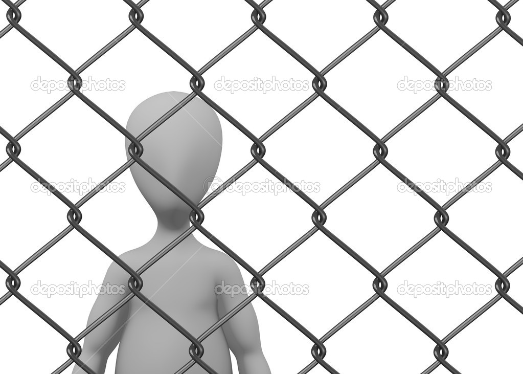D render of cartoon character with chain fence — stock