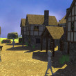 3d render of cartoon characters in medieval village — Foto Stock