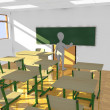 3d render of cartoon character in classroom teaching - Foto Stock