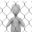 3d render of cartoon character with chain fence — Stock Photo #10705695