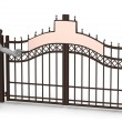 3d render of cartoon character with gate - Stock Photo