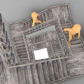 3d render von cartoon-figur mit treppe — Stockfoto