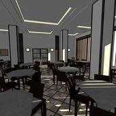 3d render of restaurant interior — Stock Photo