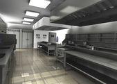 3d визуализация профессиональных ресторан кухня — Стоковое фото