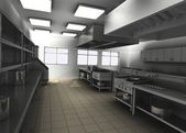 3d render of professional restaurant kitchen — Stok fotoğraf