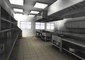 3d render profesyonel restoran mutfağı — Stok fotoğraf