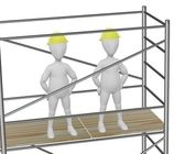 3d render of cartoon character on scaffolding — Stock Photo