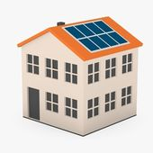 3d render of cartoon house with solar panels — Foto Stock