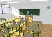 3d render of cartoon character in classroom teaching — Stock Photo