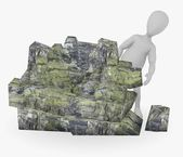 3d render of cartoon character with stone — Stock Photo