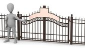 3d render of cartoon character with gate — Stock Photo
