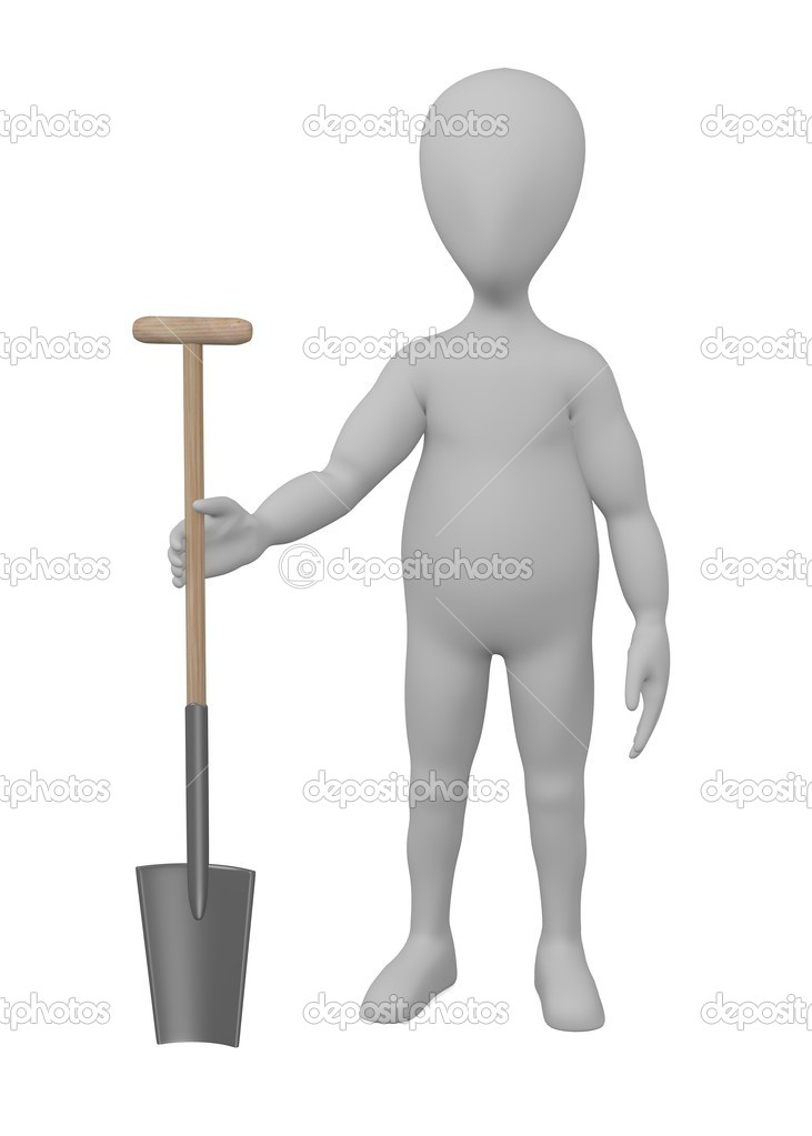 3d render of cartoon character with farming tool — Stock Photo #10704456