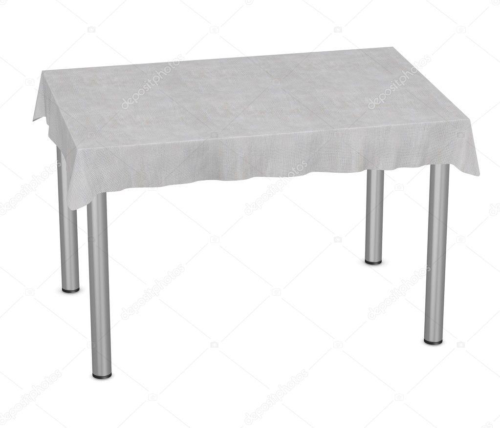 Rendering 3d di tavolo con tovaglia foto stock - Tovaglia tavolo quadrato ...