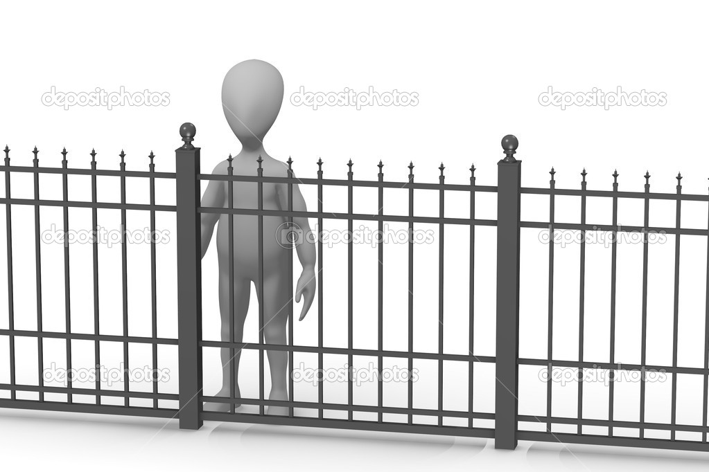 3d render of cartoon character with fence — Stock Photo #10706565