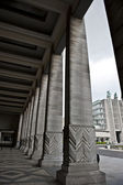 Brussels Expo Sidewalk Pillars — Stock Photo