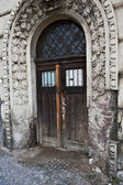 Stone-Arched Wooden Door — Stock Photo