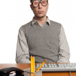 Office Worker with novelty glasses on - Stock Photo