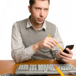 Office worker with calculator — Stock Photo #10269635