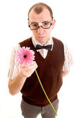 Serious Geeky Guy with Flower — Stock Photo