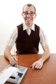 Smiling Nerdy Accountant — Stock Photo