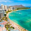 Waikiki beach and diamond head crater on Oahu, Hawaii — Stock Photo