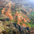 Colorful rock strata of Waimea Canyon - Kauai, Hawaii - Stock Photo
