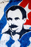 Jose Marti against Cuban Flag — Stock Photo