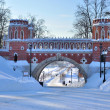 Brick arc in Tsaritsyno park in winter, Moscow (Russia) - Stock Photo