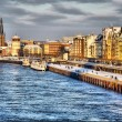 Beautiful shore of Rhein river during day in Dusseldorf in winte - Stock Photo