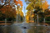 Autumn fontains at the Stadtschloss park in Fulda, Hessen, Germa — Stock Photo