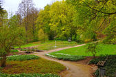 Trees and bushes in the garden near Men Monastery on a Frauenber — Stock Photo
