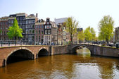 Beautiful river with 2 bridges in Amsterdam, Holland (Netherland — Stock Photo