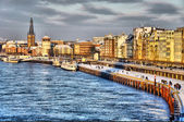 Beautiful shore of Rhein river during day in Dusseldorf in winte — Stock Photo
