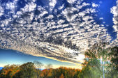 HDR mysterious colorful sky with clouds in Fulda, Hessen, German — Stock Photo
