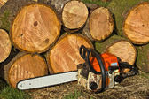 Chainsaw by Wood Pile — Stock Photo