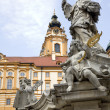 Melk - baroque closister from Austria and st. John Nepomuk statue — Stock Photo #10152514