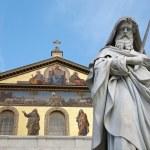 Rome - st. Paul s satatue for st. Paul basilica - St. Paolo fuori le mura basilica — Stock Photo