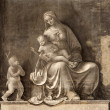Milan - fresco of virgin Mary - monochrome Madonna from San Marco church — Stock Photo