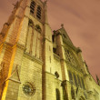 Paris - Saint Severin gothic church in night - Stock Photo