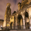 Paris - Saint Germain-l'Auxerrois gothic church in night - Stock Photo