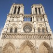 Paris - west facade of Notre-Dame cathedral - Stock Photo
